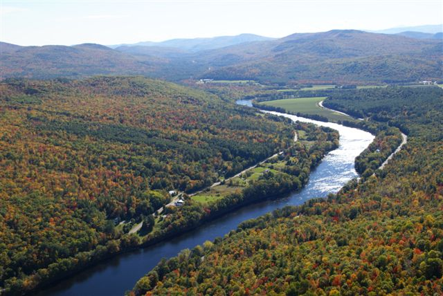 Aerial view of the Androscoggin River in Rumford Maine
